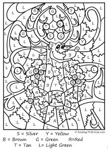 Coloring Pages Kids.com - Color by Letters Coloring Pages 3ac Color by Letter Santa C2b7 Color by Letter Reindeer 8o
