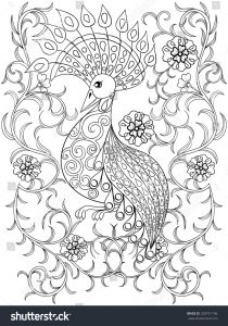Coloring Pages Of Birds and Flowers - Coloring Page with Bird In Flowers Zentangle Illustartion Bird for Adult Coloring Books or Tattoos 12q