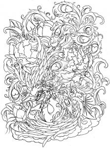 Coloring Pages Of Cancer Ribbons - Phoenix with Flowers by Metacharis On Deviantart Cancer Ribbon Tattoos Phoenix Tattoos Phoenix 9h