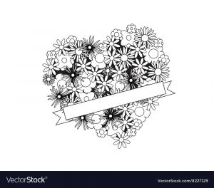 Coloring Pages Of Cancer Ribbons - Color Me Heart with Flowers and Ribbon Vector Image 1b