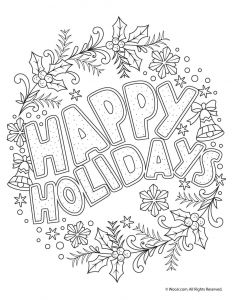 Coloring Pages Of Cancer Ribbons - Happy Holidays Adult Coloring Freebie 11n