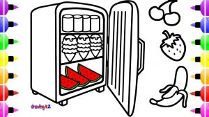 Coloring Pages Of Food - Coloring Pages Food In A Refrigerator with It S Door Open & Art Colour for Kids 14t