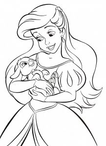 """Coloring Pages Princess - Of Walt Disney Coloring Pages Princess Ariel for Fans Of Walt Disney Characters Walt Disney Coloring Page Of Princess Ariel From """"the Little 14e"""
