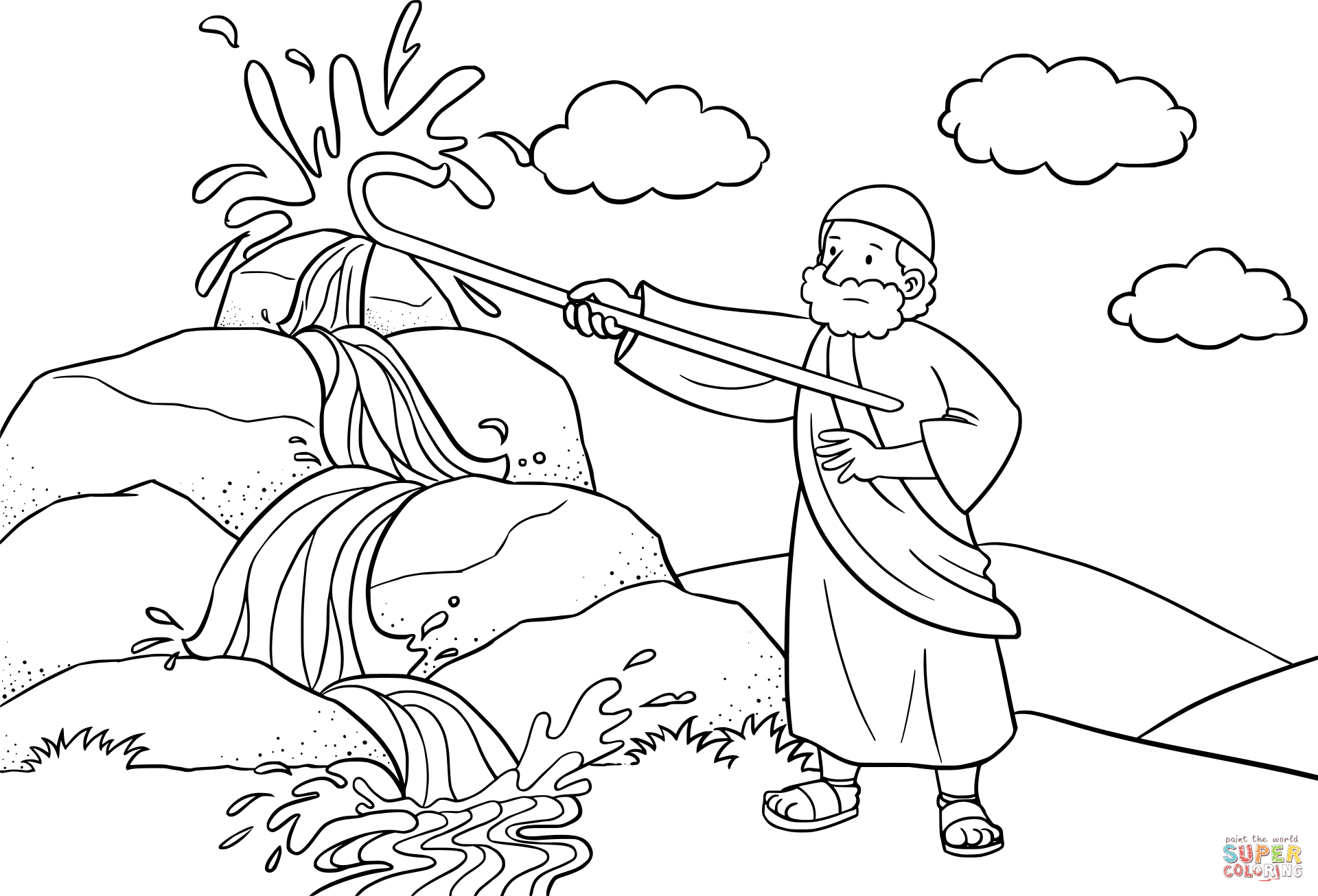 coloring pages ten commandments Download-the Moses Strikes the Rock with His Staff coloring pages to view printable version or color it online patible with iPad and Android tablets 9-l
