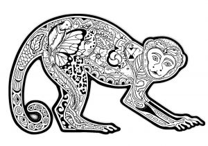 Curtain Coloring Pages - Free Coloring Page Coloring Difficult Monkey A Coloring Page with A Monkey Full Of Various Plant Patterns 12o