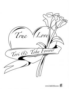 Diamond Coloring Pages - Hearts and Roses Coloring Pages 16s