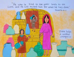 Elijah Bible Coloring Pages - Elisha Helps A Widow 13m