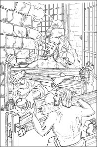 Elijah Bible Coloring Pages - Paul and Silas In the Earthquake In Jail 2n