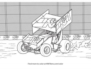 Ferris Wheel Coloring Pages - Winged Sprint Car K&n Printable Coloring Page 13p