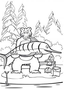 Fish Coloring Pages Pdf - Fish Coloring Pages for Kids Masha and Bear Fish Coloring Pages for Kids Printable Free 10e