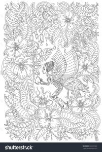 Folk Art Coloring Pages - Fantasy butterfly Pixie with Teapot In Blooming Garden Adult Coloring Page 6q