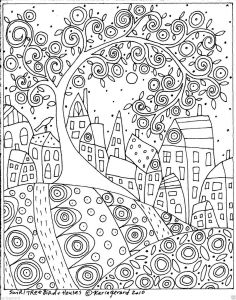 Folk Art Coloring Pages - Rug Hook Craft Paper Pattern Swirl Tree Bird and Houses Folk Art Abstract Karlag 11m