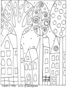Folk Art Coloring Pages - Houses & Trees Coloring Page Neighborhood 19h