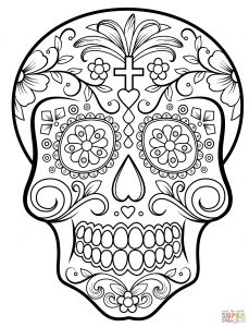 Free Printable Skull Coloring Pages - Printable Coloring Pages for Day the Dead Elegant Day the Dead Sugar Skull Coloring Page 3p