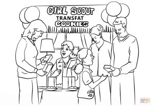 Girl Scout Coloring Pages Cookies - Brownie Girl Scouts Selling Cookies Coloring Page 15p