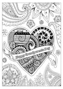 Grandparents Day Coloring Pages - Happy Grandparents Day Heart Coloring 16i