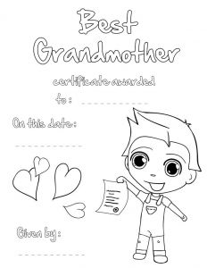 Grandparents Day Coloring Pages - Best Grandmother Printable Certificate 12i