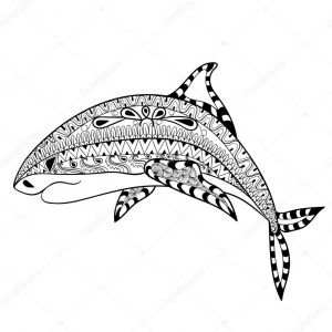 Haida Art Coloring Pages - Zentangle Shark totem for Adult Anti Stress Coloring Page for Art therapy Illustration In Doodle Style Vector Monochrome Sketch with High Details isolated 13c