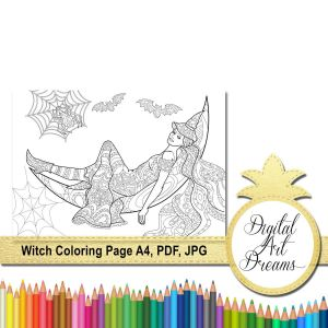 Halloween Coloring Pages Pdf - Witch Coloring Page A4 Halloween Coloring Page for Adult Relaxation No Stress Colouring Digital Witch Printable Witch Pdf Coloring Book 9r
