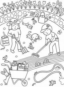 Hand Washing Coloring Pages for Preschoolers - Cute Free Gardening Colouring to Print 19a