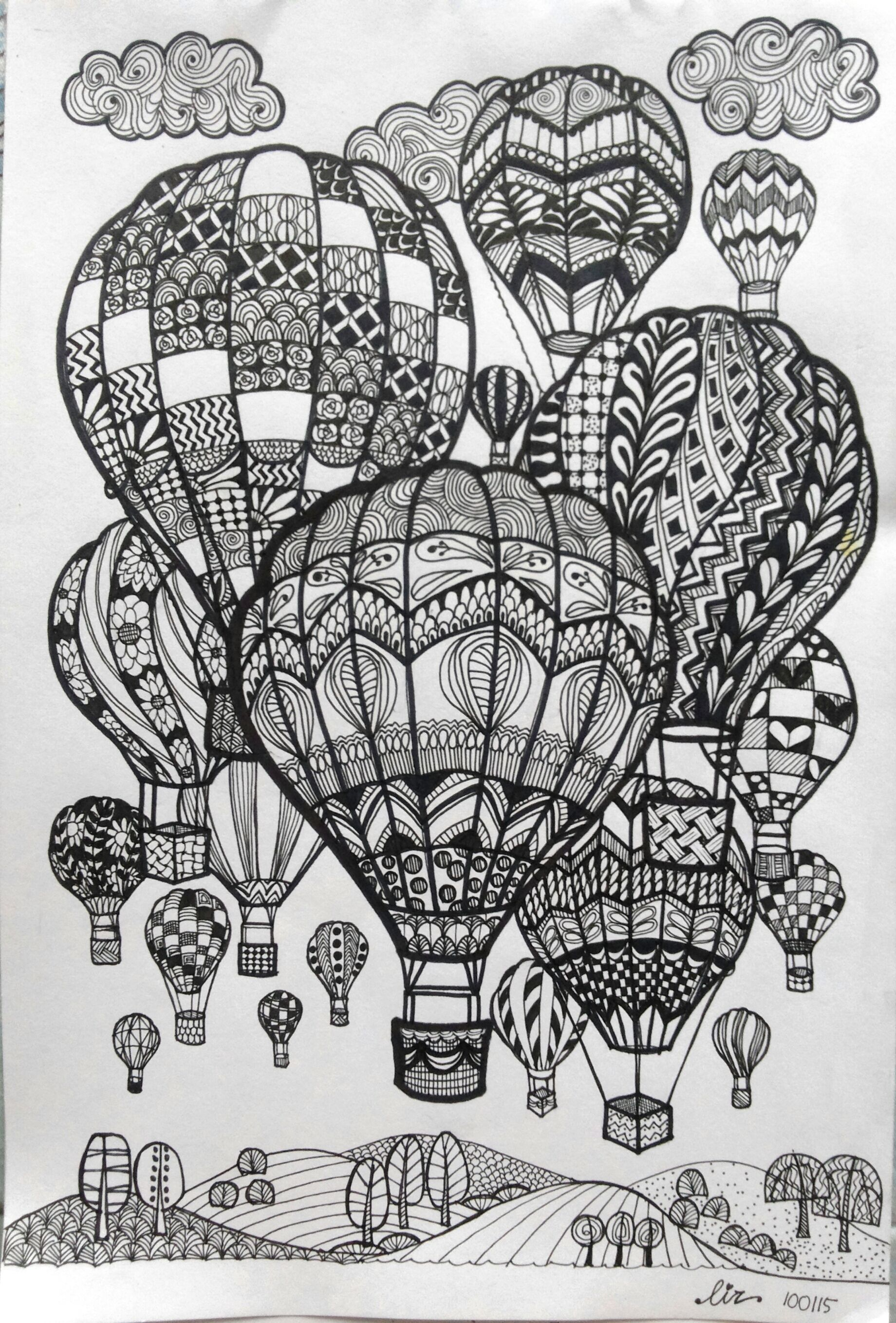 hot air balloon coloring pages Download-Hot Air Balloons Doodle art 9-o