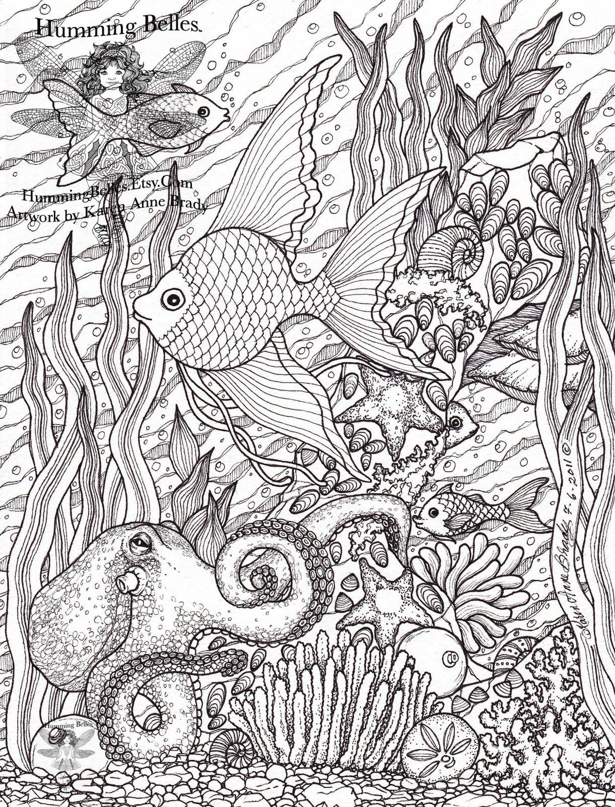 "humming belles coloring pages Collection-Humming Belles"" New Undersea Illustrations and Coloring Pages 2-k"