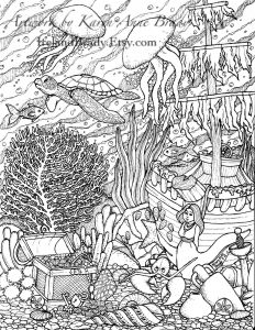 "Humming Belles Coloring Pages - Humming Belles"" Undersea Coloring Panel Number Three 20p"