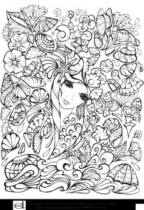 Humming Belles Coloring Pages - Free Printable Adult Coloring Pages Anime Girl with Flowers 9b