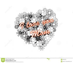 I Love My Mommy Coloring Pages - Coloring Page for Adult Od Kids Simple Floral Heart with Text Saying I Love My Mom 12e