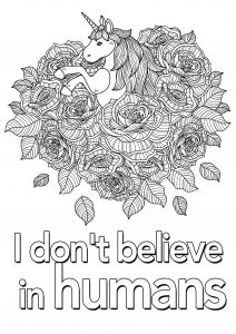 Inspiring Quotes Coloring Pages - Quotes Coloring Pages Simple Quote Unicorn I Don T Believe In Humans Page 2 Adult 14l