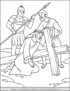 Jesus Baptism Coloring Pages - Stations Of the Cross Coloring Pages 7 Jesus Falls the Second Time 3e