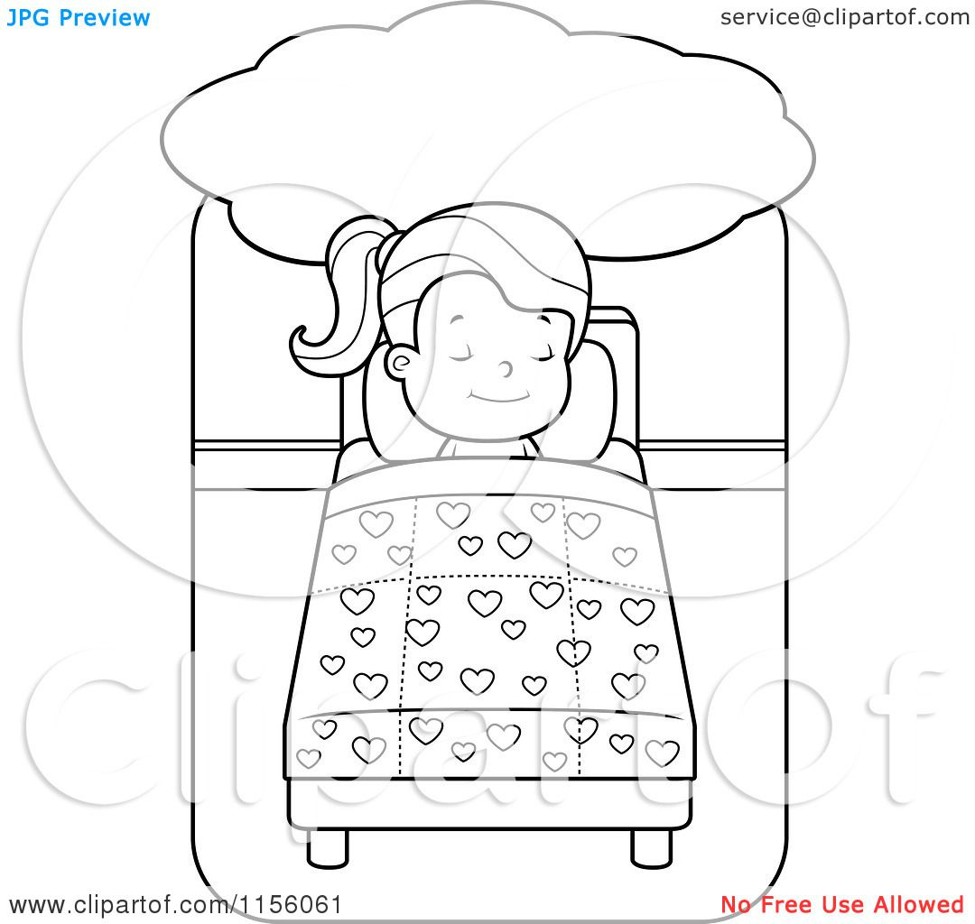 jesus heals jairus daughter coloring pages Download-Bed Vector Outline Black And White Cartoon Girls Dream Coloring Pages 20-i