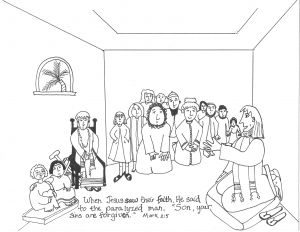 Jesus Heals the Blind Man Coloring Pages - Heals the Paralyzed Man Aunties Lessons 15r