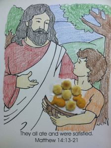 Jesus Storybook Bible Coloring Pages - Bible Story Jesus Feeds Five Thousand I Try Not to Use Color Sheets but I Loved This Quick One and Used Oyster Crackers for the Five Loaves and Goldfish 12m