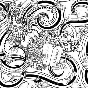 Jewish Holiday Coloring Pages - Shavuot Seamless Pattern Background Shavuot Symbols Black and White Coloring Page Vector Illustration 17d