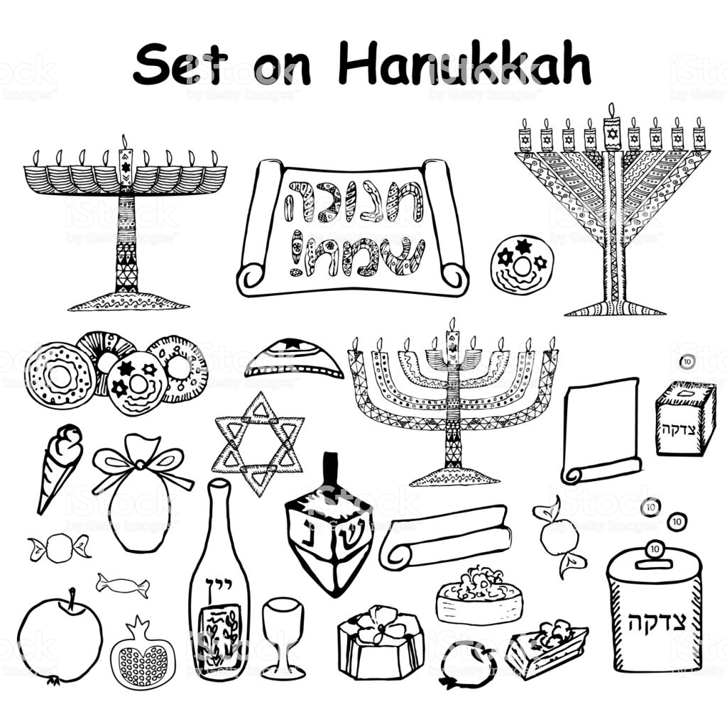 jewish holiday coloring pages Download-A set of graphic black and white elements on the Jewish holiday Hanukkah Doodle 14-s