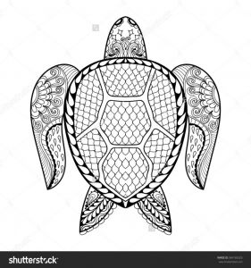 Kachina Coloring Pages - Hand Drawn Sea Turtle Mascot for Adult Coloring Pages In Doodle Native American Coloring Pages for 11b