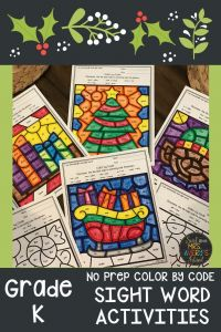Kindergarten Sight Words Coloring Pages - Kindergarten Sight Word Color by Code Christmas Activities for December Sight Words Pinterest 3r