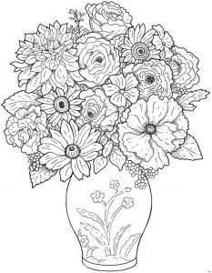 Large Coloring Pages - Flower Coloring Pages 7 O Collection solutions Flower Vase Coloring Page About Worksheet 18a