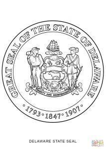 Lemonade Stand Coloring Pages - Hurry Delaware Flag Coloring Page State Seal Free Printable 12d