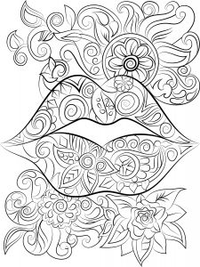Mothers Day Coloring Book Pages - Lips and Flowers Colouring Page Instant Digital Free Coloring Pages Printable Coloring Coloring 2p