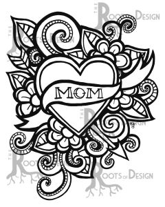 Mothers Day Coloring Book Pages - Instant Download Coloring Page Mom Tattoo Style Mother S Day Print Zentangle Inspired Doodle Art Printable by Rootsdesign On Etsy 1h
