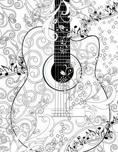 Musical Instruments Coloring Pages - Adult Coloring Page Printable Adult Guitar Free by Juleezgallery 13o