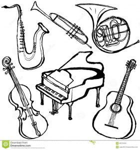 Musical Instruments Coloring Pages - Musical Instruments Coloring Pages Luxury 28 Collection Jazz Instruments Drawing 15n