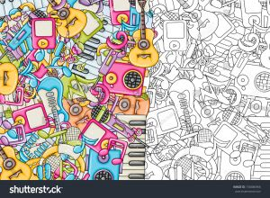 Musical Instruments Coloring Pages - Music Concept Musical Instruments and Objects Background Design Black and White Outline Coloring 19k