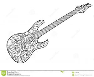 Musical Instruments Coloring Pages - Electric Guitar Coloring Book for Adults Vector 8g