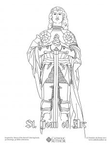 Mystery Of History Coloring Pages - St Joan Of Arc Free Hand Drawn Catholic Coloring 18e