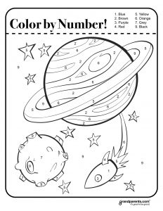 Numbers Coloring Pages Pdf - Color by Number Space Worksheet 10r