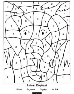 Numbers Coloring Pages Pdf - Color by Numbers Elephant Coloring Page for Kids Printable 20q