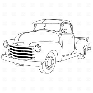Old Cars Coloring Pages - Classic Car Vector Art Old American Pick Up Truck Truck Coloring Pages Coloring Books 9b